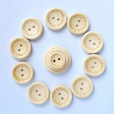 50PCS Wooden Butterfly Handmade Love Buttons Sewing 2 Holes New Round DIY