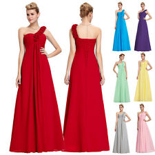 Sexy One-Shoulder Women Chiffon Formal Bridesmaid Dress Prom Party Evening Gown