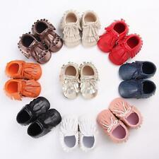 Candy Color Baby Boy Girl Tassel PU Leather Soft Sole Moccasin Crib Shoes 0-18M