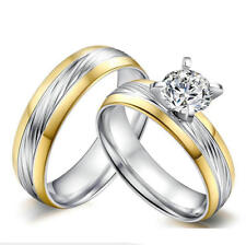 Couples Prong setting glossy cubic zirconia ring wedding engagement band Sz 5-12