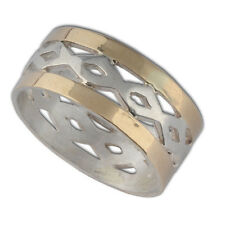 handcrafted Two tone band ring 925 Sterling Silver 9k yellow gold size 6 - 9