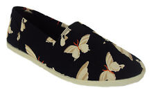 Soda Flat Women Shoes Butterfly Black Linen Canvas Slip-on Loafers Comfy OBJECT