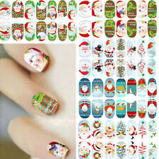 Chic Glow Full Wraps Christmas Santa Nail Art Stickers Foils Tips DIY Decal