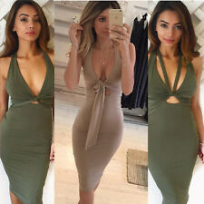 Sexy Women's Halter Dress Cocktail Party Hot Bodycon Tight Bandage Solid Dresses