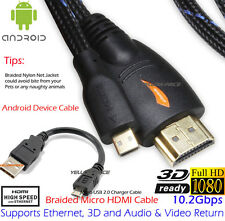 HDMI to Micro HDMI Cable Ethernet 1080P 3D+OTG/ Micro USB For Droid EVO HTC 4G