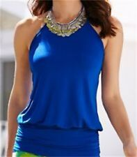 Blue Sleeveless Stretchy Knit Tie Halter Blouson Tank Top Size XS~M