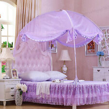 Princess Mosquito Net Bed Canopy Curtains Netting with Stand Fit Twin Full Queen