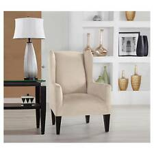 Serta Stretch Fit Microsuede Slipcover Wingback Chair Ivory