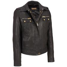 Black Rivet Womens Leather Jacket W/ Zip And Snap Chest Pockets