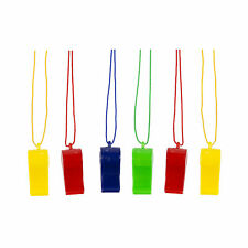 Multicolour Plastic Sports Training Referee Whistle with Lanyard