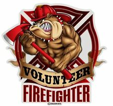 Volunteer FF Firefighter Fireman Bulldog Ax Axe Window Helmet Sticker Decal