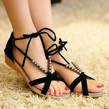 Ladies Summer Wedges Sandals Beaded Ankle Strap Open Toe Women Casual Flat Shoes