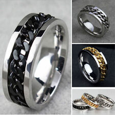 Mens Silver Gold Curb Chain Center 316L Stainless Steel Wedding Band Ring 8mm
