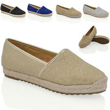 NEW WOMENS FLAT ESPADRILLES PUMPS LADIES HOLIDAY CASUAL COMFORT SHOES SIZE