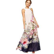 Women Sexy Floral Sleeveless Maxi Cocktail Ball Gown Evening Party Long Dress