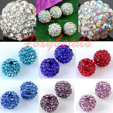 5pc Colors Crystal Pave 10/12mm Resin Disco Ball Spacer Beads for DIY Jewelry