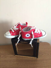 CONVERSE ALL STAR Red Pram Shoes Baby Girls / Boys Infant Size 4 UK