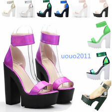 Sexy Womens Block High Heel Platform Patent Leather Open Toe Shoes Size