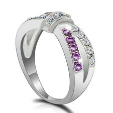 White Gold PLATED  Purple Amethyst & CZ Criss Cross Band Ring Jewelry Size 6-10