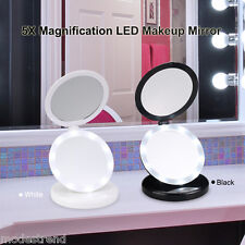 5X Magnification Makeup Cosmetic Mirror Beauty Shave Vanity Mirror Foldable Led