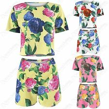 NEW LADIES ROSE FLORAL PRINT BOX TOP SHORTS SUIT WOMENS LOOSE FIT CROP TOP SET