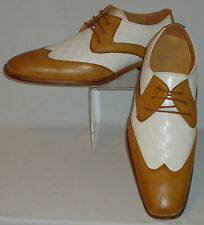 Mens Retro Camel & White Wingtip Dress Shoes w/ Cool Check Antonio Cerrelli 6656