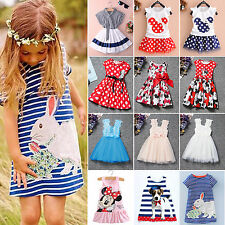 Cute Baby Girls Minnie Mouse Princess Party Dress Kids Cartoon Clothes Tops 1-7Y