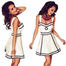 White Black Wavy Trim Sexy Bodycon Skater Formal Prom Evening Gown Party Dress