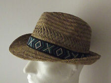Men's Straw Trilby Hat with contrast band (WS-52)