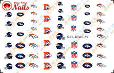 55, 57 or 68 NFL- Denver Broncos Nail Art Waterslide Decals Tattoo FAST SHIPPING