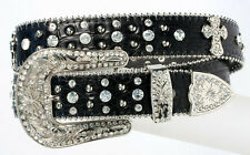 NEW! Western Black Leather Belt, Rhinestones and Cross Size 32-40