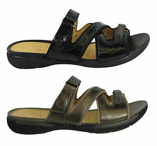 CLARKS UN VERLEE WOMENS/LADIES COMFORTABLE LEATHER SLIP ON SANDALS/SHOES/SLIDES
