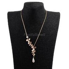Orchid Pendant Chain Necklace with Pearl Drop Adjustable Jewelry for Wedding