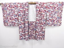 VINTAGE JAPANESE SYNTHETIC, HAORI KIMONO, DYED FLOWER, BEAUTIFUL PRINT, JAPAN