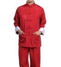 Traditional Reds Chinese Men's Silk Kung fu Suit Pajamas SZ: M L XL 2XL 3XL