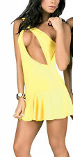 NWT 4029 Sexy Yellow O Ring Hot Clubwear Dance Exotic Mini Dress Top Rave S M