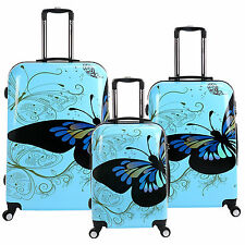 Blue Butterfly PC Luggage Spinner 4 Wheel Case Trolley Rolling Suitcase TSA Lock