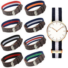 18 20mm Fabric Nylon Leather Army Military Replacement Wrist Watch Band Strap