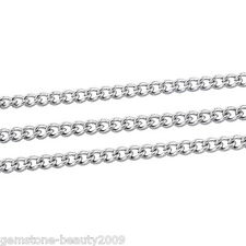 GB Wholesale Silver Tone Stainless Steel Link-Opened Curb Chains 3x2mm