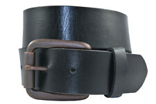 Full Grain Solid 1-Piece Leather Belt w/ Antique Brass Roller Buckle - Black