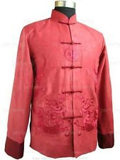 Traditional Men's Embroidery Dragon Kung Fu Tai Chi Coat jacket Tops Blue Reds