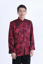 Traditional Chinese Men's Dragon Silk Coat jacket stage Clothing Party Tops