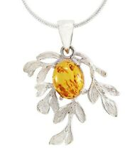 Tree Branch Amber Stone 925 Sterling Silver Pendant