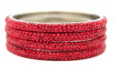 Indian Handmade Metal Lac Sparkling Bling Crystal Red Bracelets Bangles 8ss