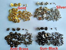 Brass Military Tie Tacks Tac Pin Tie Squeeze Clutch Backs Butterfly Clasp Nail