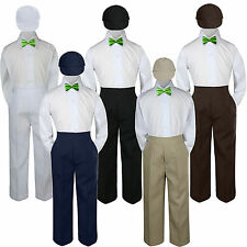 4pc Lime Green Neon Bow Tie Party Suit Pants Set Formal Baby Boy Toddler Kid S-7