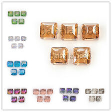 14mm Faceted Glass Crystal Charm Square Bead Finding Loose Spacer Bead Colorized