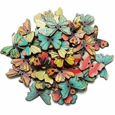 HE527 50pcs 2 Holes Mixed Butterfly Wooden Button Sewing Scrapbooking DIY Craft