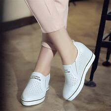 New Womens Fashion Sneakers Wedge Shoes Genuine Leather Sport Tennis Oxfords Hot