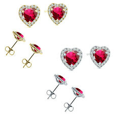 6mm Ruby Birth Gem Stone Stud Halo Solitaire Heart Silver Pair Earrings